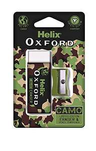 Helix Oxford Camo Eraser and Pencil Sharpener Set - Green - 99p Prime (+£4.49 non prime) @ Amazon