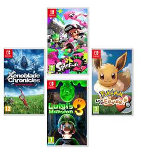 Luigi's Mansion 3/Xenoblade Chronicles: Definitive Edition/Pokémon: Let's Go,Eevee!/Splatoon 2 (Nintendo Switch) £34.99 each W/Code @ Currys