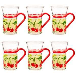 Clear Tea Glass with Handles (Set of 6) Tea Coffee Espresso Mugs 5 designs £5.98 delivered @ Clearanceshed (Minimum order £5)