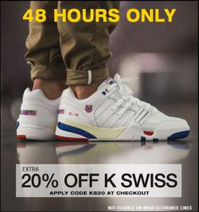 Extra 20% off sale prices on K Swiss Trainers code KS20 or 15% off Mega Clearance code VIP15 Delivery is £3.99 @ Express Trainers