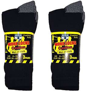 6 Pairs Work Socks Reinforced heel & Toe Size 6-11 - £7.99 Prime / +£4.49 non Prime Sold by School Wear United and Fulfilled by Amazon