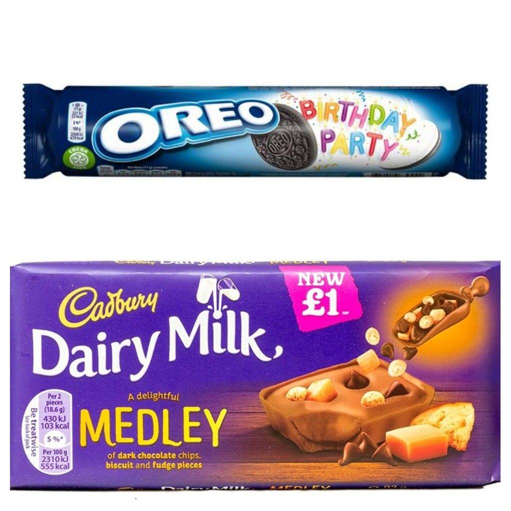 Oreo Birthday Party 154g 30p / Cadbury Dairy Milk Fudge Medley 93g 50p (both past BBE) in-store @ Cadbury Lowry Outlet