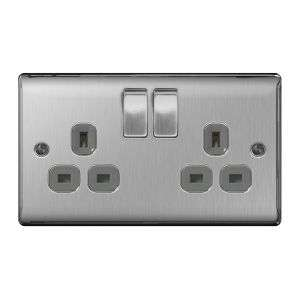 Nexus (British General)Metal Double 13A Plug Socket, Brushed Steel, Grey Inserts £4.45 delivered @ The Electrical Showroom
