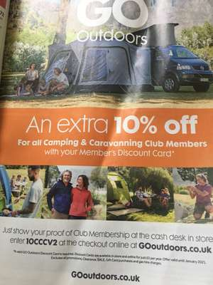 An extra 10% off Members Discount @ Go Outdoors