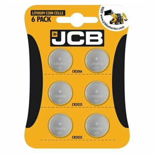 6 X JCB 2032 2025 2016 3V Lithium Button Coin Cell Batteries (2 each), £1.49 at powercrazy_uk / ebay