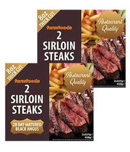 Restaurant Quality Black Angus Sirloin Steaks 32oz (908g) of sirloin steak for £10 @ Farmfoods