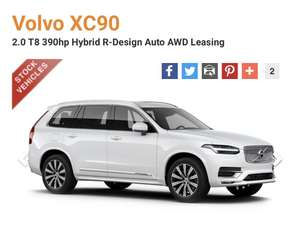 Volvo XC90 2.0 T8 390hp Hybrid R-Design Auto AWD - 24 month Lease, total £13354.99 inc VAT at gateway2lease