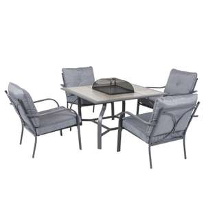 Andorra Metal Firepit Lounge 4 Seater Set in Grey £360 @ Homebase
