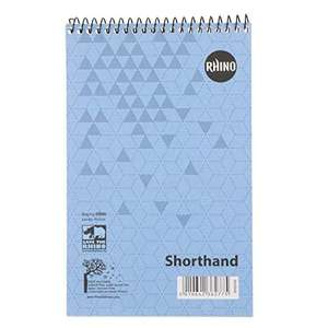 RHINO Shorthand Notepad, 80 Leaf, 8mm Ruled 63p (Min Order of 2) £1.26 at Amazon (+ £4.49 NP)