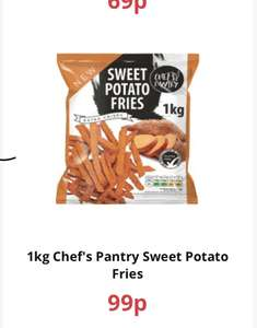 1kg Chef's Pantry Sweet Potato Fries 99p at FarmFoods