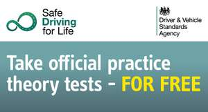 FREE Official Practice Theory Tests from the Driver and Vehicle Standards Agency (DVSA) plus 25% off all DVSA Material with the code