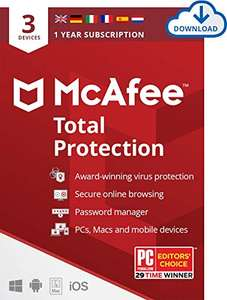 McAfee Total Protection 2020 | 3 Device | 1 Year | £12.49 @ Amazon