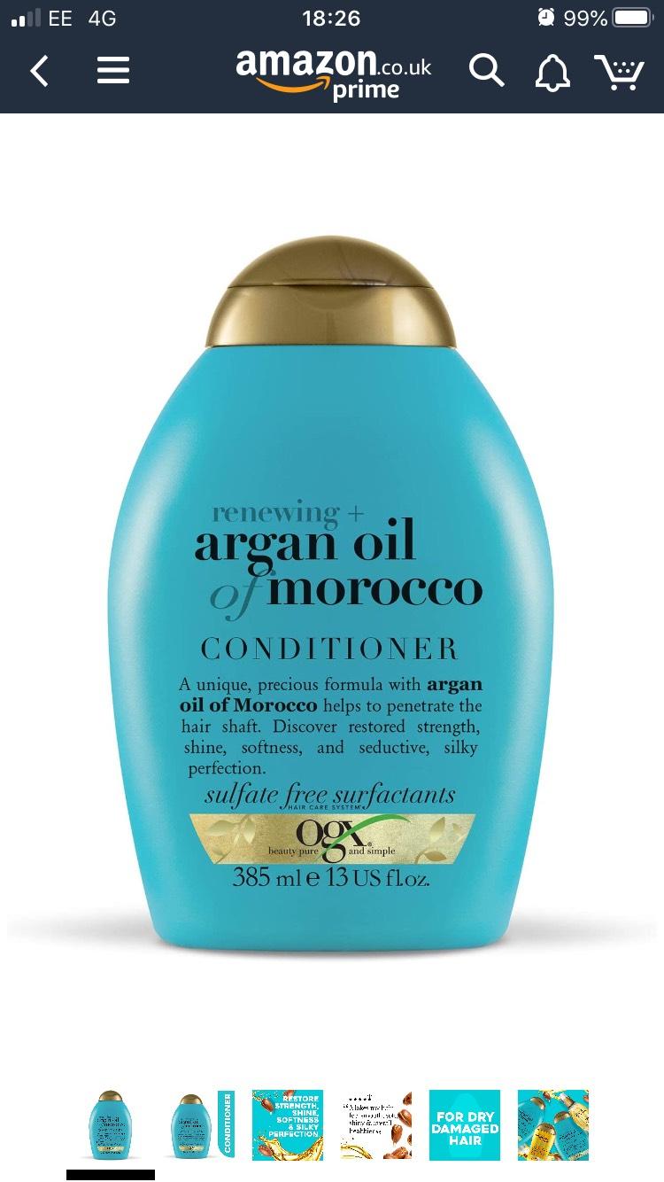 Ogx Renewing + Argan Oil of Morocco Conditioner, 385m £3.46 @ Amazon (+£4.49 non-prime)