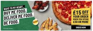 £15 OFF When you Spend £30+ @ Papa Johns Shop