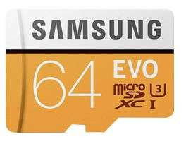 Samsung EVO 64GB Micro SDHC Memory Card UHS-I U3 Class 10 100MB/s with SD Adaptor £8.99 Delivered @ Base