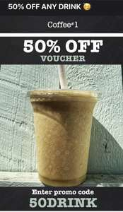 50% off any drink at Coffee #1 using voucher code