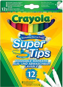 Crayola SuperTips Washable Felt Tip Colouring Pens (Pack of 12) £1.75 (+ £4.49 NP) at Amazon