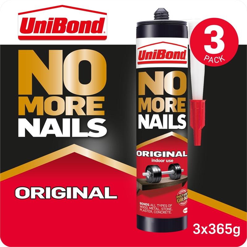 UniBond No More Nails Grab Adhesive Triple Cartridge Original 3 x 365g - £8 + Free Click & Collect @ Homebase