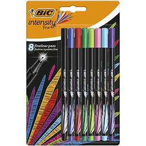 BIC Intensity Fine Felt Tip Pens Fine Point (0.4 mm) – Assorted Colours, Pack of 8 - £2.50 Prime + £4.49 non Prime at Amazon