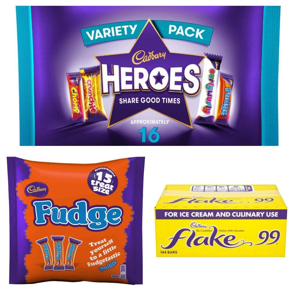 Cadbury Heroes / Fudge Treatsize 202g - 225g £1 / 144 Cadbury Flake 99's (all past BBE) £12 in-store @ Cadbury Lowry Outlet
