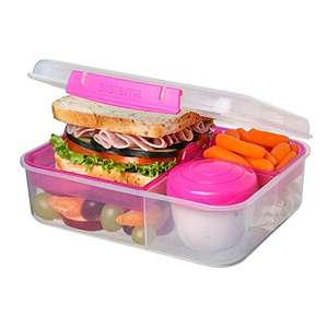 Sistema Bento Lunch Box to Go with Fruit/Yogurt Pot, 1.65 L, Clear/Pink (2 boxes for £10) plus £4.49 delivery nonprime @ Amazon