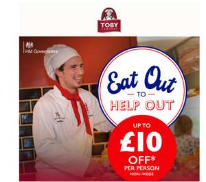 Toby Carvery - 50% off via Eat Out To Help Out plus stack with 25% newsletter discount e.g. Carvery from £2.74