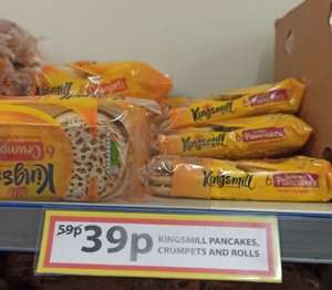 Kingsmill Pancakes, Crumpets and Rolls 39p each @ Farmfoods (Kirkby) (Nationwide)