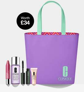 Free limited edition tote bag with 4 deluxe samples (worth £34) when you spend £55+ plus a Free Sample + Free Delivery @ Clinique