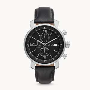 Fossil Rhett Chronograph Black Leather Watch now £54.40 delivered using code @ Fossil