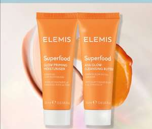 Elemis superfood aha glow cleansing butter and glow priming moisturiser - £12 delivered (New customers only) @ Elemis