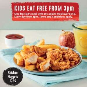 Morrisons Cafe Kids Eat for FREE everyday after 3pm when you buy an adult meal from £4.50