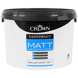Crown Paint Emulsion Paint 10L, Brilliant White / Magnolia - 2 for £20 + free collection @ Toolstation