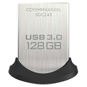 SanDisk Ultra Fit 128 GB USB Flash Drive USB 3.0 up to 150 MB/s - £14.97 (Prime) £19.46 (Non Prime) @ Amazon