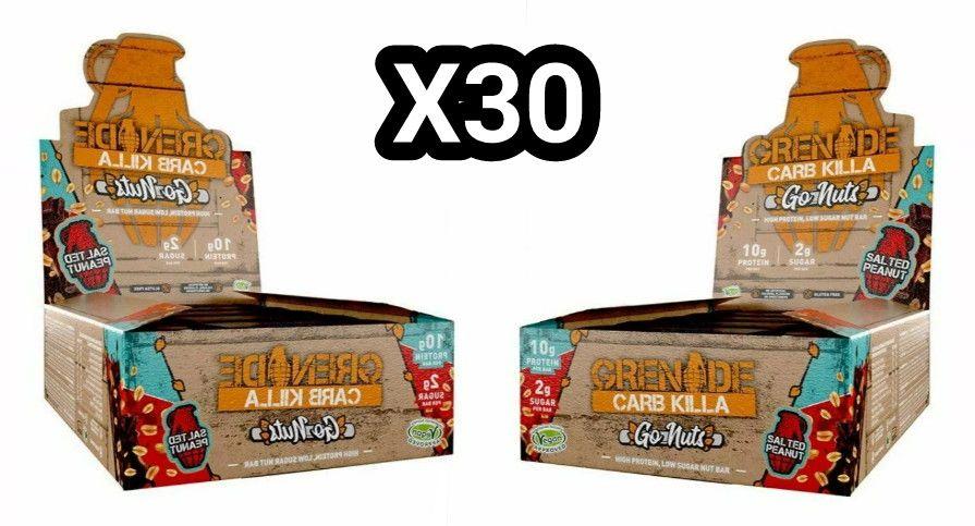 30 Bars Grenade 40g Carb Killa Go Nuts High Protein Vegan Nut Bar Salted Peanut - £17.99 (BOGOF) @ XS Items Ebay