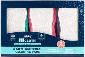 'Minky' M Cloth Anti-Bacterial Cleaning Pad 3 Pack - Grey, Pink, Green for £4.66 (Prime) / £7.65 (Non Prime) delivered @ Amazon