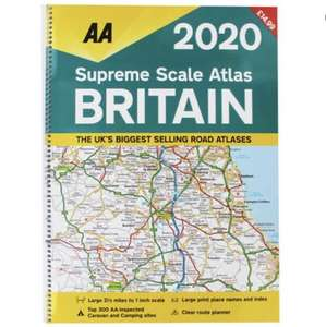 AA: Supreme Scale Atlas Britain 2020 £6.99 delivered at The Works