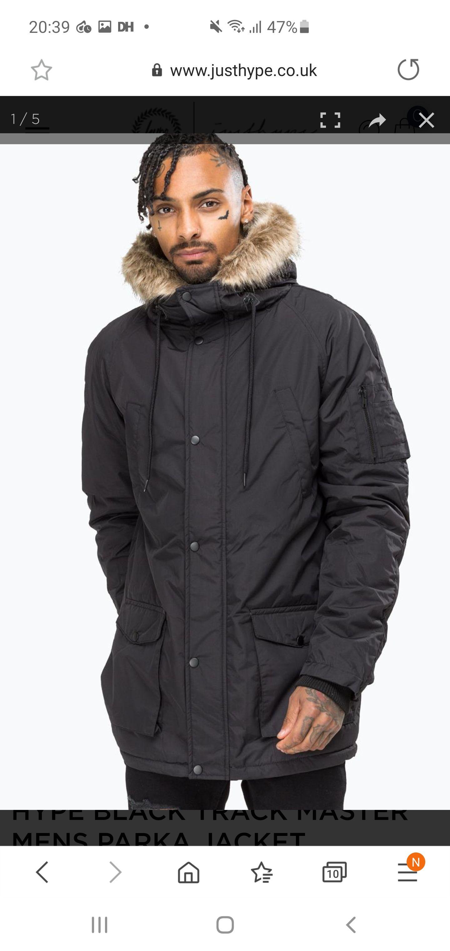 Hype Black Track Master Mens Parka Jacket £6.80 @ Just Hype (£2.49 P&P)