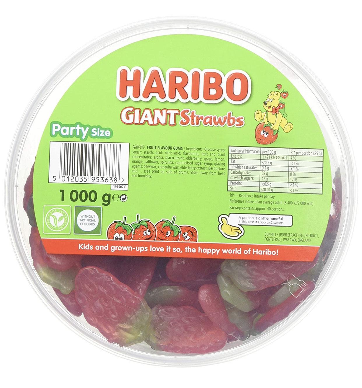 1KG Haribo Giant Strawbs Strawberry Tub only £1 @ Farmfoods