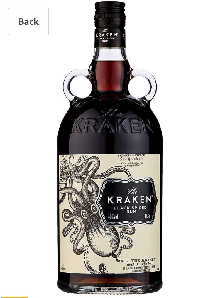 Kraken Black Spiced Rum, 1Litre £27.99 Amazon