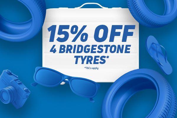 15% off 4x Bridgestone Tyres (10% off 2x other premium tyres) @ Kwik Fit