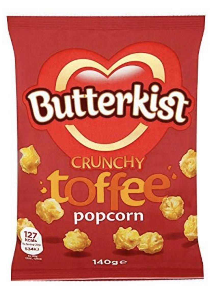 Butterkist Popcorn Crunchy Toffee, 140 g £1 @ Amazon (+£4.49 Non-prime / 95p via S&S)