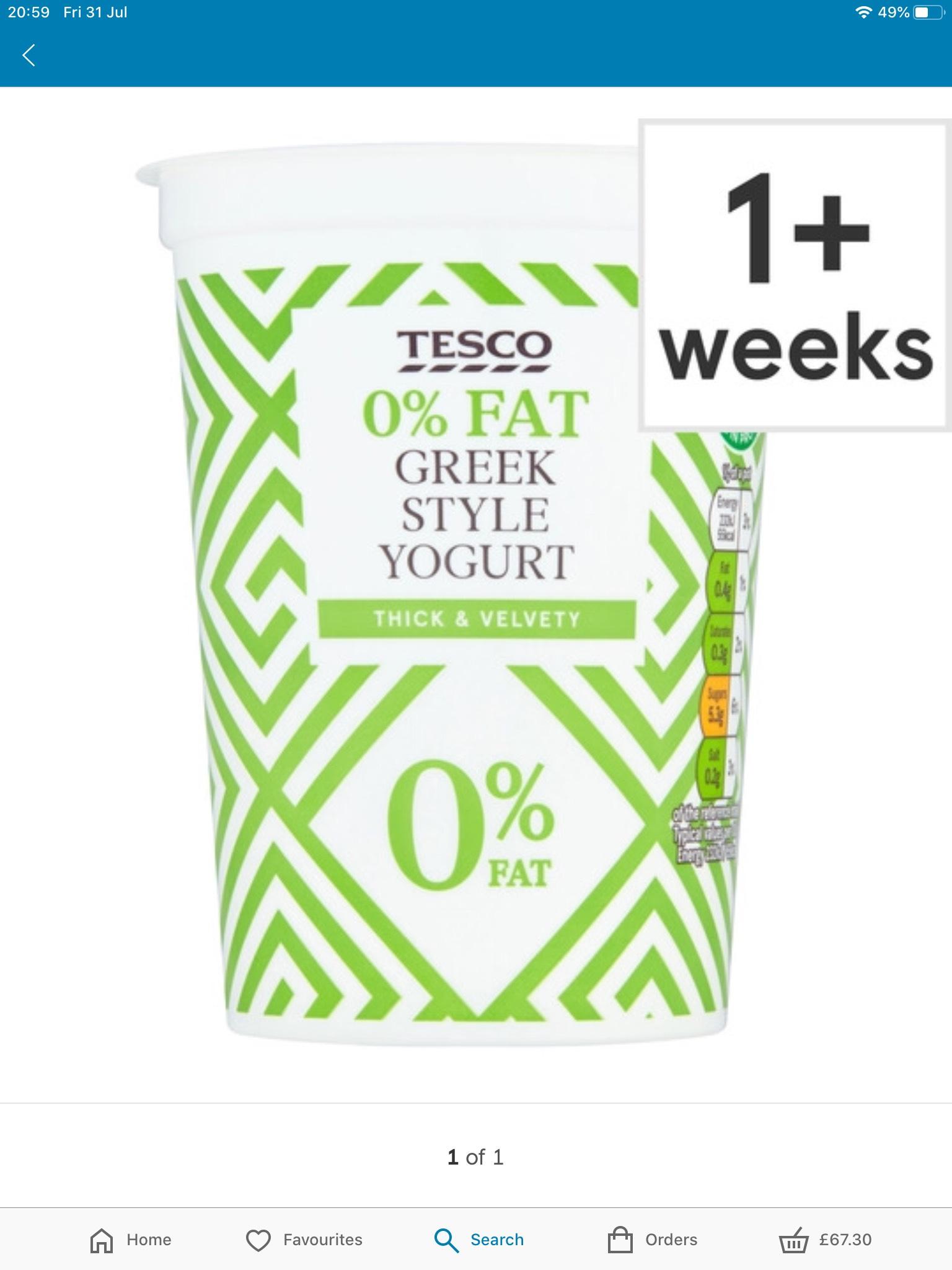 Tesco 0% Fat Greek Style Yogurt 500G 39p @ Tesco