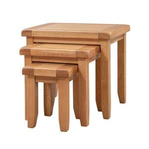 Chatsworth Oak Nest of 3 Tables - Wax Finished - £79.99 + Free Delivery @ JTF