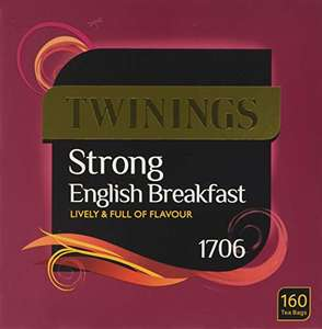 Twinings English Strong Breakfast Tea, 480 Tea Bags (Multipack of 3 x 160 Bags) £15 Prime (+£4.49 non Prime)