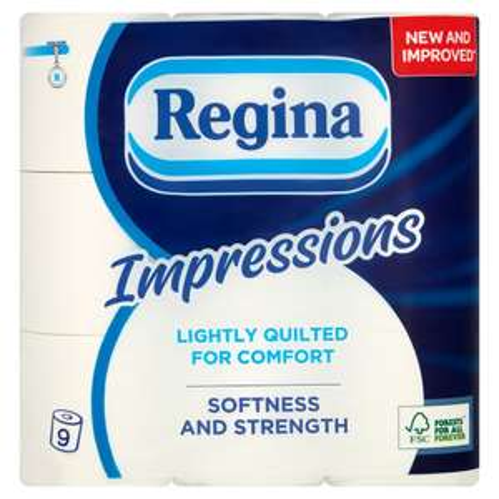 Regina Impressions Toilet Tissues 9 Rolls 3 Ply - £2.50 at Wilko (Free C&C)