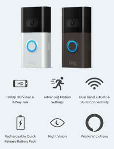 Ring Video Doorbell 3 for £129.99 with unique code from Vodafone VeryMe Rewards