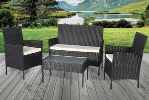 4pc Rattan Garden Furniture Set – Black, Brown or Grey £129 + £29.99 delivery Fulfilled by Wowcher