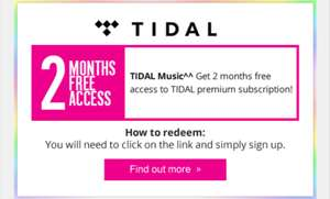 Free 2 month premium Tidal Music subscription for Superdrug members