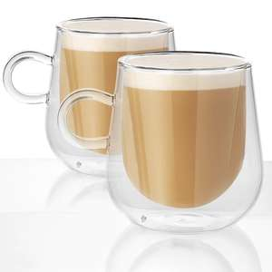 2 x Double Walled 275ml Glass Mugs £8.39 Delivered @ Roov