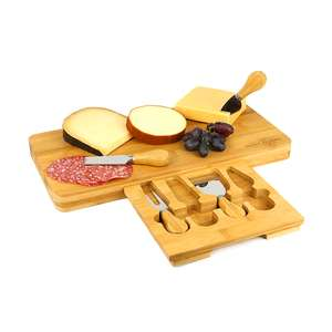 Bamboo Cheese Board Serving Platter With Knife Set £10.93 Delivered @ Roov